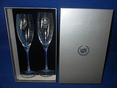 Set 2 New 2000 Cadillac Etched Logo Crystal Champagne Flutes In Original Box