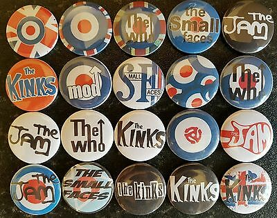 Mod Bands The Jam The Who The Kinks Button Badges x 20. Pins. Collector. Bargain