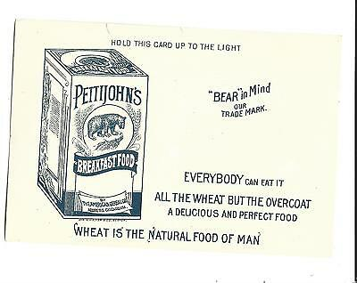 HOLD TO LIGHT Trade Card Pettijohn's Breakfast Food BEAR American Cereal Chicago