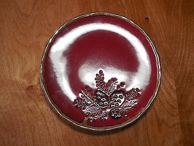 "JCPenney JCP Home ALPINE RED Set of 7 Salad Plates 9"" Pinecones Lodge"
