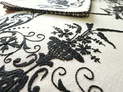 ART DECO Black & White Embroidered Antique ITALIAN Linen 24 pc Placemats Napkins