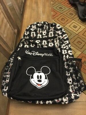Walt Disney World MICKEY MOUSE FACES Black and White Backpack Bag 2017