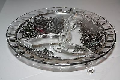 Vintage Glass 3 Section Footed Condiment  Dish with Silver Overlay