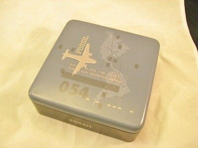 FOSSIL METAL Wallet BOX Vintage Airplane COLLECTIBLE Trinket TIN Plane