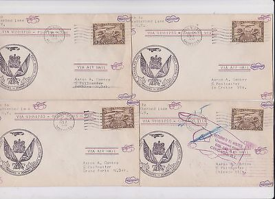 CANADA FIRST FLIGHT COVERS   4 WINNIPEG w CROSSED FLAG CACHET 134 0615
