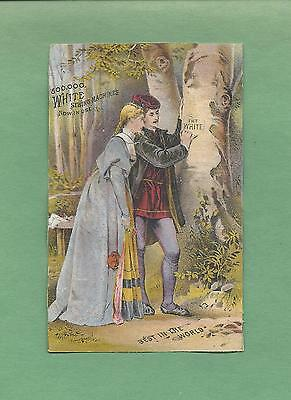 LOVERS CARVE NAME IN TREE On Colorful WHITE SEWING MACHINES Victorian Trade Card