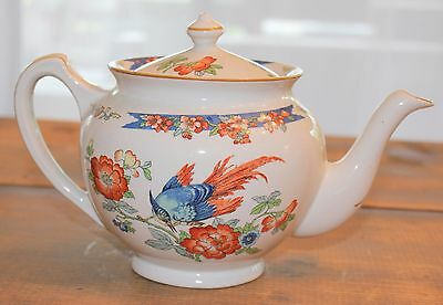 Wood & Sons England Antique Bird of Paradise Pattern Teapot with Lid ~ Excellent