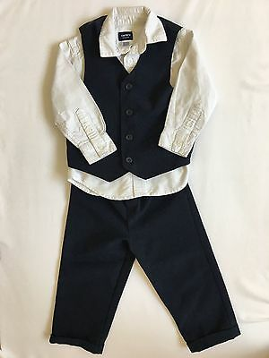 EUC Toddler boys 3T suit with vest, long sleeved white shirt and pinstripe pants