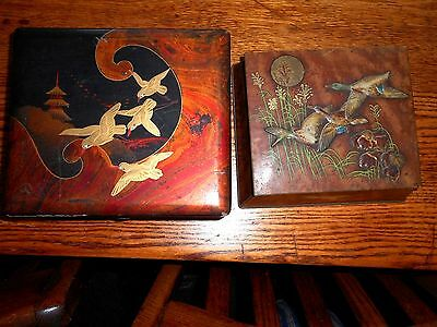 2 Vintage  duck/ birds  decorative boxes    tin and wood