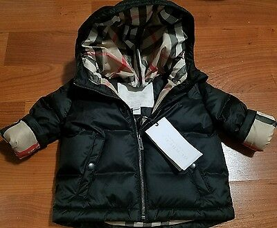 NEW $250 Authen BURBERRY BABY Black Infant Winter Coat Jacket 9 Months girl boy
