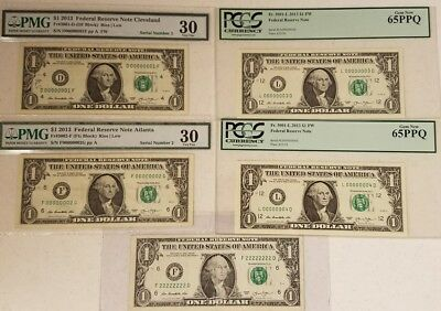 ***SERIAL # DREAM SET*** #1, #2, #3, #4 & Solid Twos! All 2013 $1 FRNs! 00000001
