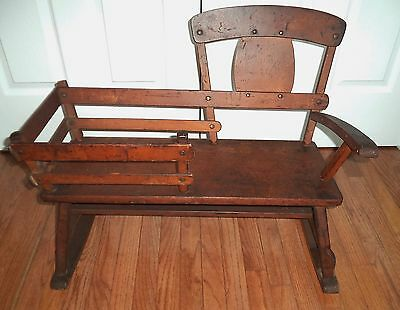 Antique OLD Wood Wooden Kids Size TOY Doll  MAMMY NANNY Bench Rocker Chair RARE