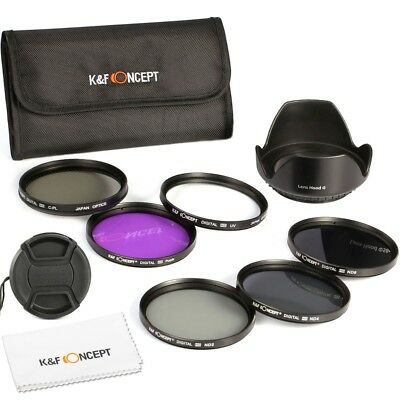 K&F Concept Slim 52mm UV CPL FLD ND 2 4 8 Filter Kit Lens Hood for Nikon Cameras