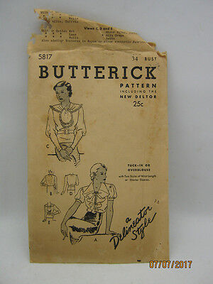 Antique 1919 1923 Butterick Delineator Style Blouse Top Dress Sewing Pattern 34
