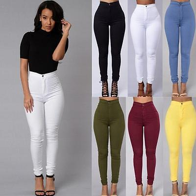 Pencil Stretch Casual Elasticity Denim Skinny Jeans Pants High Waist Trousers