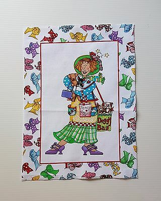Loralie Lady with Dogs QUILT FABRIC PANEL BLOCKS bows