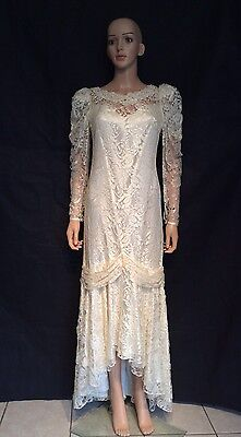 Vtg 80's Lace Wedding Flapper Dress Mermaid Gown Tea Length Crochet And Pearls