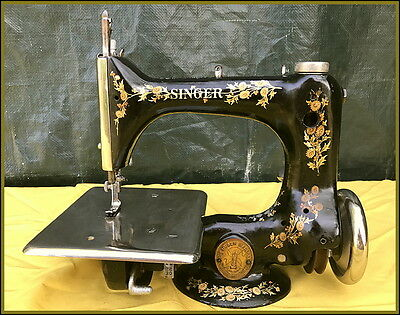Small Antique Singer Model 24 -Red Berry- Chainstitch Sewing Machine