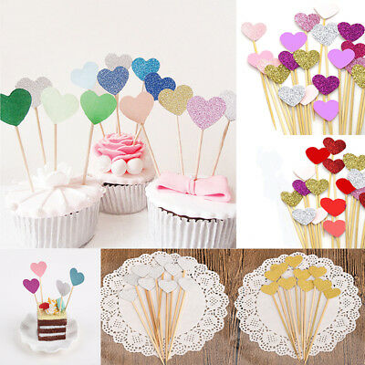 30 Heart Cake Topper Party Supplies Cupcake Toppers Toothpicks Cake Decorating