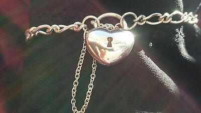sterling silver charm bracelet with heart latch and safety chain 925 6.65g, 19cm