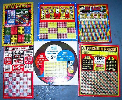 6 UNUSUAL PUNCHBOARDS free shipping some with SPECIAL tickets etc NOT ORDINARY