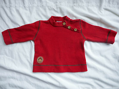 Baby boys dark red knit jumper top long sleeves Size 00 Little Pumpkins monkey