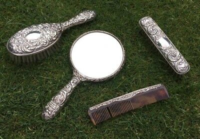 Solid Silver 4 Piece Dressing Table Set Comb Brushes Mirror Birmingham