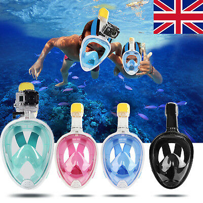UK Swimming Full Face Mask Diving Snorkel Scuba for GoPro Kids Adults XS-XL