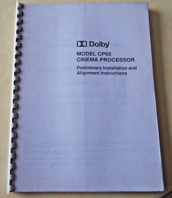 Preliminary Instruction And Alignment  Dolby Cp65 Cinema Processor