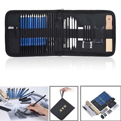 32pcs/Set Charcoal Sketch Pencil Graphite Eraser Art Drawing Supplies Kit w/ Bag