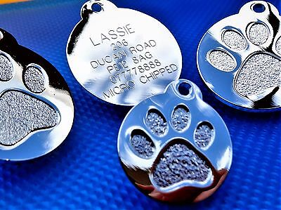 Silver colour Round Paw Dog Pet ID Tags Disc Dog tag or Cat tag engraved free