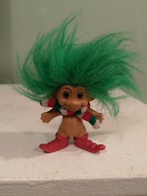 Troll doll Russ Christmas green hair vintage, save post on multiple purchases