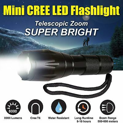 Police CREE LED Zoom Flashlight Tactical 6000LM XML-T6 Torch Lamp Waterproof UK