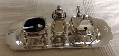 Silver Plate 3 Piece Cruet Set With Tray. Walker & Hall.