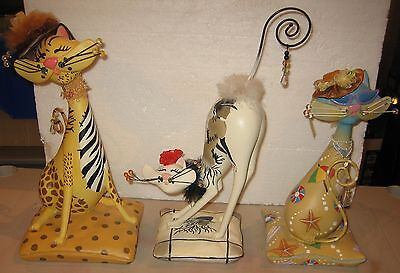 Group of 3 Whimsical Resin Cat Sculptures from ENESCO