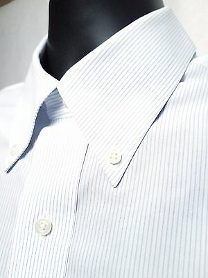 BROOKS BROTHERS Slim Fit White Dress Shirt for Men - Long Sleeve Blue Pin Stripe