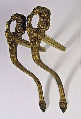 French Curtain Tiebacks: Roses Antique Pair 19thC Empire Bronze Gilt Wall Hook