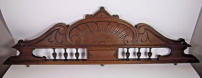 Antique Wood Pediment: French Hand Carved Oak Overdoor Architectural Salvaged