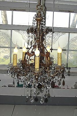 Petite Antique French BOUDOIR Bronze Crystal Cage Chandelier