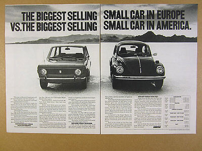 1972 Fiat 128 compared to vw Volkswagen Super Beetle photo vintage print Ad