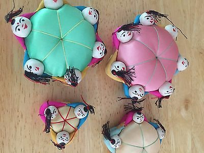 Vintage Set of 4 Whimsical Silk Asian Oriental Chinese Pin Cushions - NEW!