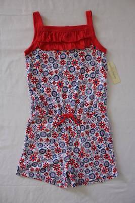 NEW Girls Romper Medium 7 - 8 Flowers Sleeveless Shorts Outfit Jumpsuit Red Blue