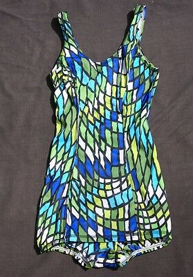 vtg 70s SPEEDO mod geometric 1pc SWIMSUIT bathing 32 L DEADSTOCK NOS never worn
