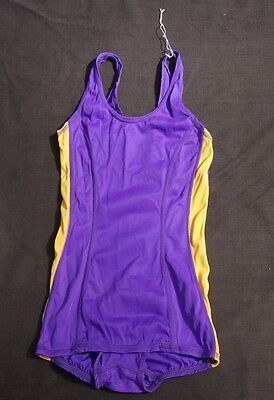 vtg 70s SPEEDO PURPLE yellow 1pc competition racing SWIMSUIT 30 DEADSTOCK NOS