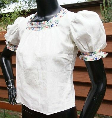 vtg 30's 40's EMBROIDERED PEASANT TOP blouse red buttons flowers
