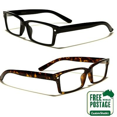 Clear Lens Glasses - Stylish Square Frame - Nerd - FREE POST AUS