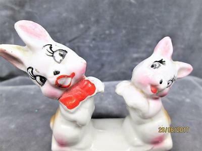Vintage Ceramic Easter Bunnies Rocking Figure Made In Japan
