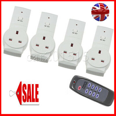 1-4 Remote Control Sockets Wireless Switch Home Mains UK Plug AC Power Outlet UK