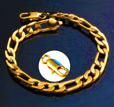 18k Yellow Gold Bracelet Womens Men Elegant Flex Link Chain + Gift Package D636D