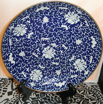 Fine Chinese Porcelain Blue And White Lotus Flowers And Bats Bowl